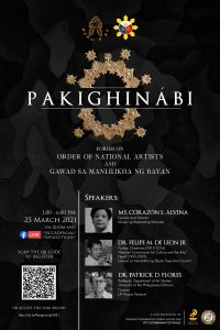 PAKIGHINÁBI: Forum on Order of National Artists and Gawad sa Manlilikha ng Bayan
